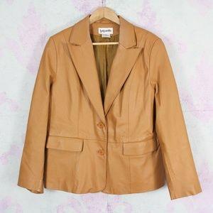Vintage Bagatelle 12 Tan Brown Leather Blazer Boho